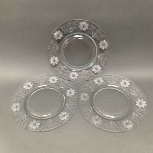 """Etched Flowers Floral Clear Glass Salad Plates 8 1/2"""" Lot of 3"""