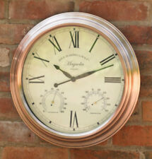 40cm Vintage Copper Indoor or Outdoor Garden Wall Clock Thermometer & Humidity
