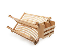 Core Bamboo Bamboo Dish Rack with Utensil Holder Collapsible Drying and Storage