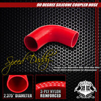 "2.375"" 3-PLY 90-DEGREE ELBOW TURBO/INTAKE PIPING SILICONE COUPLER HOSE/PIPE RED"