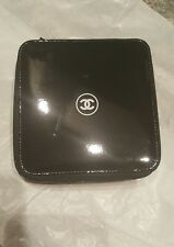 Chanel Large Black Hard Case Square Makeup Cosmetic Travel Bag zipper around