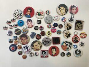 JOB LOT ROCKABILLY & ROCK & ROLL BADGES Elvis Buddy Holly Meteors Stray Cats etc