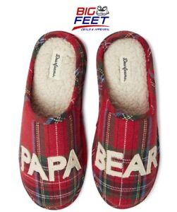 """Sz XL (13-14) DearFoam  MEMORY FOAM+ """"Papa Bear"""" Plaid Slippers Slip on Clogs"""
