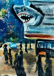 ORIGINAL ACEO Painting OCEAN CITY Shops NIGHT People Fun Beach Boardwalk ATC ART