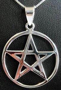 "Sterling Silver (925) Pentagram Pendant (12 mm) + 925 Silver 18"" Necklace !!"