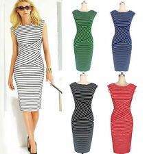 Unbranded Women's Striped Sleeveless Wiggle, Pencil Dresses