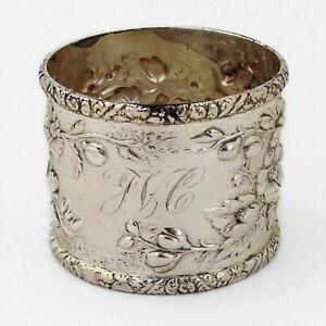 Tiffany Repousse Floral Napkin Ring Sterling Silver Mono JVC
