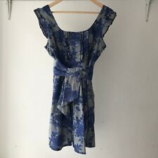 New York Laundry Womens Blue Floral Mini Dress With Belt, Size 12