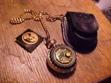 """John Deere Model """"B"""" Pocket Watch with leather belt Case by Franklin Mint,works"""
