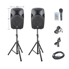 PRORECK Portable 12Inch 600W 2-Way Powered PA Speaker System w/Bluetooth/USB/SD
