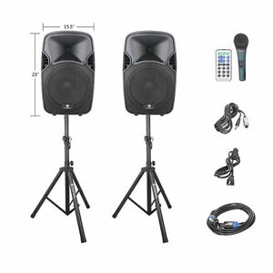 PRORECK Portable 12 Inch 1000W 2-Way Powered PA Speaker System Bluetooth/USB