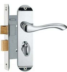 HAIFUAN Polished Chrome Door Lock Set,for Right Hand Doors (Z01-BK-45-R)