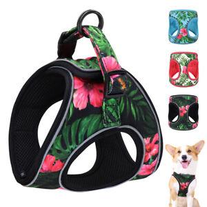 Floral Adjustable Dog Step In Harness Reflective Breathable Walking Vest Handle