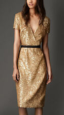 BURBERRY LONDON Gold Sequin V Neck Dress NEW  Size  UK 8,USA 6, ITA 40, GER36