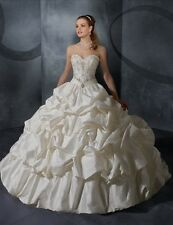 Beautiful Wedding Dress Bridal Embroidered Ball Gown Princess Satin size UK 12