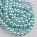 50pcs 8mm Pearl Round Glass Loose Spacer Beads Jewelry Making Baby Blue