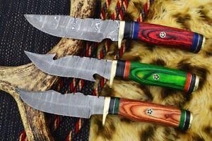 """10"""" MH KNIVES CUSTOM HANDMADE DAMASCUS STEEL LOT OF 3 HUNTING/SKINNER KNIF LOT4"""