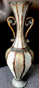Metal, decorative large Floor vase,patina look. 26 Inches Tall/10 In At Wide