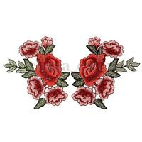 2 x Embroidery Rose Flower Sew On Patch Badge Hat Jeans Bag Dress Applique  HH