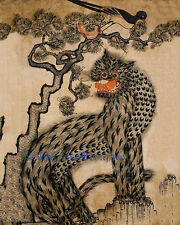 "Korean Art, Minhwa(민화)-Tiger and magpie, 8""x10"" Printed on silk Matted fa3"