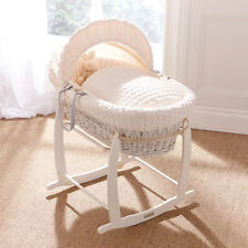 White Wicker / Cream Marshmallow Padded Baby Moses Basket Cream Marshmallow