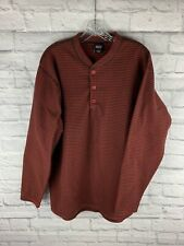 Patagonia Capilene Red Striped 1/4 Button Pullover Fleece Men's L (Made In Usa)