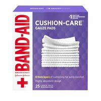 Band-Aid Brand Cushion Care Gauze Pads Large 4 in x 4 in 25 Count, 4 Pack