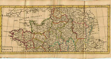 1761 Genuine Antique hand colored set of two miniature maps of France. A. Dury
