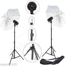 Flash da Studio Professionale KIT 2x 100W Pot. Regolabile 2x Ombrello 2x Stativo