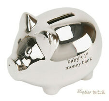 Baby Christening Gifts. Silver Pig Shaped Money Box Piggy Bank Moneybox CG847