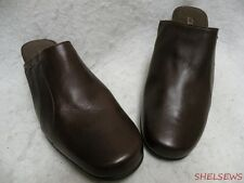 """New Clarks Brown Leather Mules Comfort! 2"""" Heel Slight Flaw"""