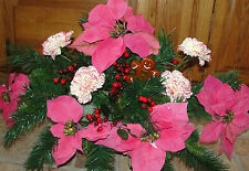 Christmas Pine Gingerbread Man Cemetery Grave Tombstone Saddle Pink Poinsettias