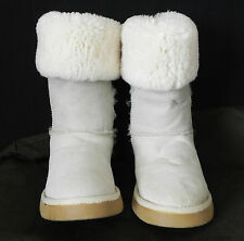 Sheepskin Boots Mid-Calf Beige/Heather Gray Size 7M