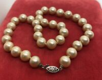 """10k White Gold Estate Vintage Necklace Faux Pearl Knotted Strand Estate 14"""""""