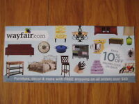 Wayfair 10% off entire order COUPON expire 5/18/19 card certificate Wayfair.com