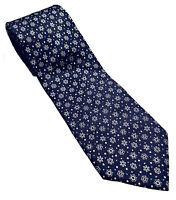 Salvatore Ferragamo Winter Snowflake Navy Blue Silk Tie Italy Christmas