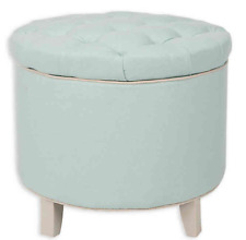 NEW Safavieh Hudson Collection Amelia Tufted Storage Ottoman, Robin's Egg Blue