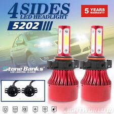 4-Side 5202 H16 9009 Car LED Headlight Bulb Fog Light 16000LM 6000K White Lamp