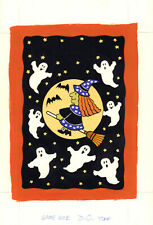 Witch Flying w Ghosts - Halloween Greeting Card Painted Art 1996 by Sandra Wheat