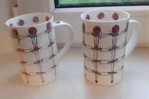 2x Dunoon Fine Bone China Mugs Rennie MacIntosh Design