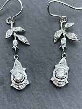 Antique 18ct White Gold Diamond Earrings.