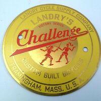 "Landry's Challenge Bicycle Brass Head Badge Logo Framingham ""A-Grade"" Vintage"