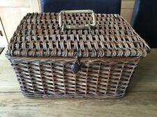 Vintage Wicker Picnic/Craft/Storage Basket With Lid And Handle