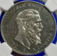 1888-A German Empire Prussia Friedrich III Proof 2 Mark NGC PF 65 GEM QUALITY
