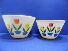 Vintage Fire King Mixing Bowl Set Splash Proof Tulip Ivory  3/4 QT Oven Ware USA