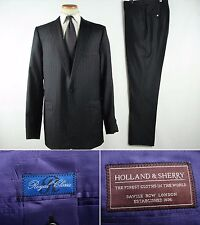 Royal Classic Tom James Holland & Sherry Fine Wool Suit Black Stripe 44 XL W38