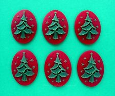 6 Unset Green Christmas Tree on Red 40mm x 30mm Costume Jewelry Craft CAMEOS