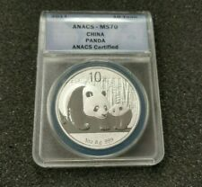 2011 China Panda 10 Yuan Fine Silver .999 Ag. ANACS Cert. - ANACS- MS70 (1 of 2)