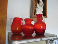 """Three Vintage Amberina Crackle glass Pitchers w Clear Handles 4 3/8"""" -3"""" Tall"""