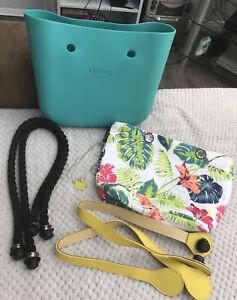 OBAG O Bag Original Aqua Teal Blue Grass Green Rope & Yellow Handles & Inner Bag